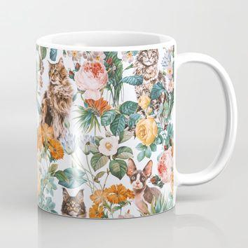 Cat and Floral Pattern III Coffee Mug by burcukorkmazyurek