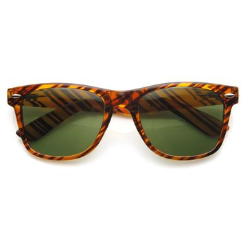 Iconic Classic Brown Stripe Horned Rim Sunglasses With G15 Glass Lens 9202