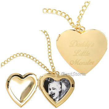 Licensed cool DC  Suicide Squad Harley Quinn Daddy's Lil Monster Heart Locket Necklace