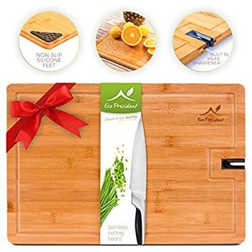 Bamboo Cutting Board - Large Wood Chopping Board for Meat and Cheese by Eco President – with Non Slip Feet and Knife Sharpener for Kitchen - (18 X 12 Inches)