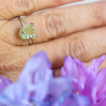 Peridot Ring, Raw Peridot Ring, Green Gemstone Ring