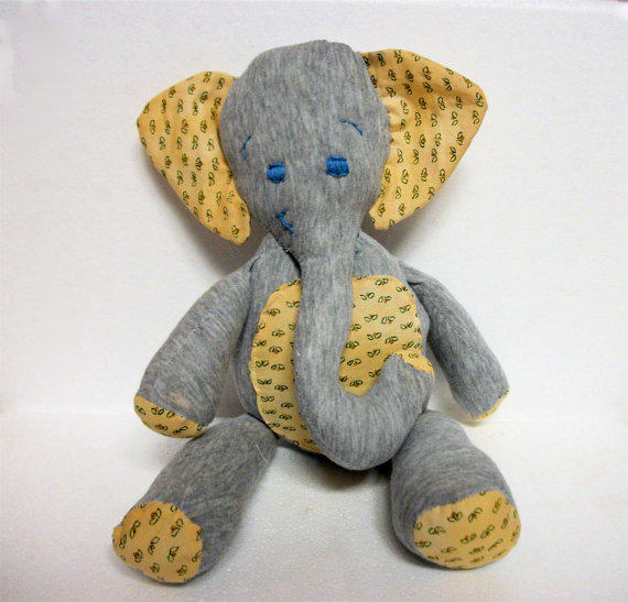 Elephant Plush Recycled Gray and Yellow Arthur by RopeSwingStudio