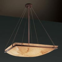 Justice Design Group FAL-9797-25-DBRZ-LED-6000 LumenAria 48-Inch Square Bowl 6000 Lumen LED Pendant with Ring
