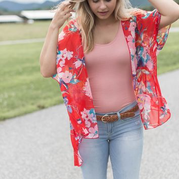 Short Sleeve Floral Kimono, Red