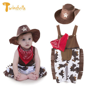 TWINSBELLA Baby Boy Clothing Set Newborn Boys Cowboy Cosplay Costume Sets Overall+Hat+Scarf 3pcs Kids Rompers Clothes Sets