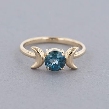 Triple Moon Goddess Ring-Solid 14k Gold with London Blue Topaz