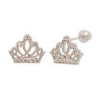 Sterling Silver, Crown Tiara Stud Earring Screw Back Lab Created Gems