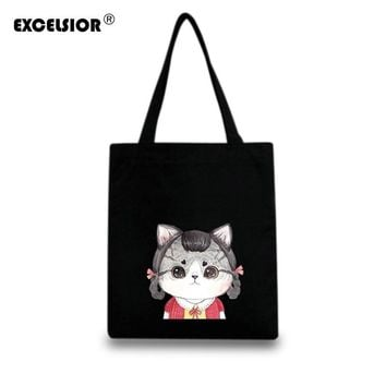 EXCELSIOR Canvas Women Casual Zipper Tote Designer Lady Large Bag Cartoon Cats Handbags Bolsas Shopping Bag Women's Shoulder Bag