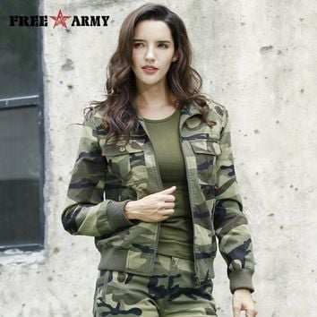 New Autumn Women's Outerwear & Coats Military Camouflage Jackets Cotton Denim Jacket for Women Bomber Jackets Female Plus 3XL