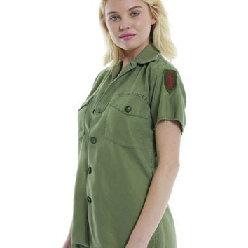 EM7318 Kaki Button Up Short Sleeve Shirt