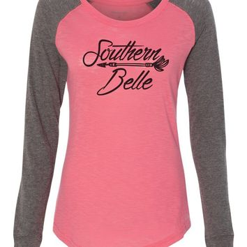 "Womens ""Southern Belle"" Long Sleeve Elbow Patch Contrast Shirt"