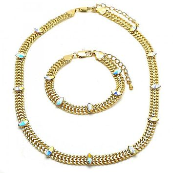 Gold Layered 06.185.0017 Necklace and Bracelet, with Aurore Boreale Crystal, Polished Finish, Golden Tone