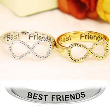 2PCS Gold Silver Infinity Ring Eternity Ring Charms Best Friend Letters Ring Endless Love Symbol Couples Friends Ring Jewelry