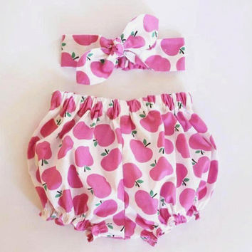 Pink Apples, Baby Bloomers and Headband Set, baby girl headband, baby bloomers, baby knot headband, bloomers set, baby girl bloomers