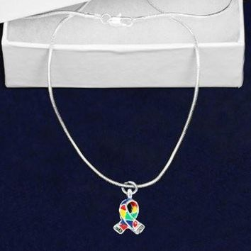 Silver Trim Autism Awareness Ribbon Necklace with Gift Box