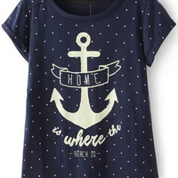Anchors Print Blue Polka Dot T-shirt