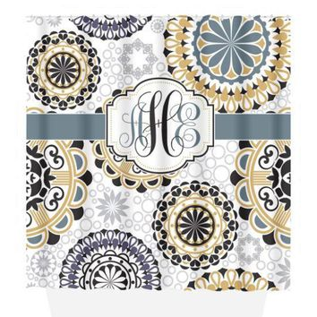 Mandala SHOWER CURTAIN, Medallion Circles, Custom MONOGRAM Personalized Bathroom Decor Pattern Bathroom Bath Towel,  Bath Mat