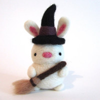 Needle Felted Bunny with Witch Hat and Witch Broom, Cute Halloween Decor, Felt Bunny, Felt Witch, Halloween Bunny, Halloween Witch Ornament