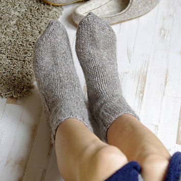 Knitted wool slippers- boiled wool socks- women socks- warm wool socks- Christmas gift socks- gray yarn wool hand knit socks- hand knit