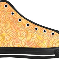 Ombre yellow and orange swirls doodles Black High Tops