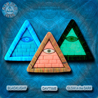 GLOW in the dark jewelry Pink Illuminati all seeing eye pyramid pendant EyeGloArts Handmade in the USA blacklight polymer clay millefiore