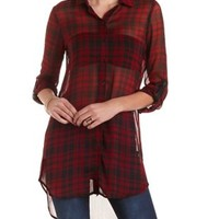 Plaid Chiffon Button-Up Tunic Top by Charlotte Russe