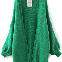 Green Long Sleeve Knit Cardigan