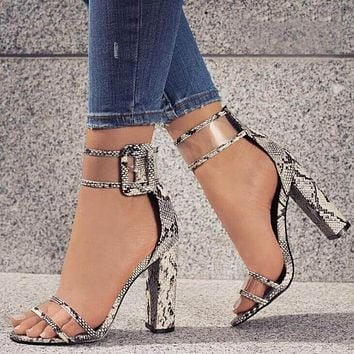 High Chunky Heel Open Toe Simple Ankle Wrap Sandals