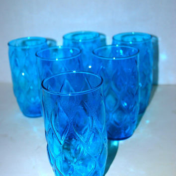 sale vintage  aqua  glasses set of  6 retro brilliant  aqua glasses