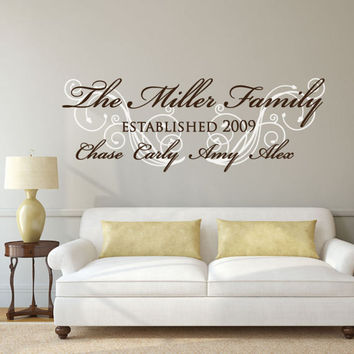Family Wall Decal - Family Established Decal - Custom Stickers - Custom Decals - Custom Name Decal - Wall Decor - Wall Decals -Wall Stickers