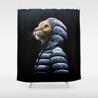 COOL CAT Shower Curtain by Tummeow