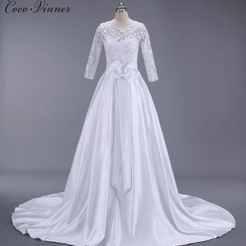 C.V Short tailing satin princess lace wedding dress 2017 new long sleeve zipper back bow A line long wedding gown W0137