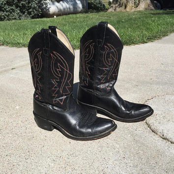 Black Leather Cowboy Boots Old West Size 7 Beautifully Stitched with Red and White stitching Vintage