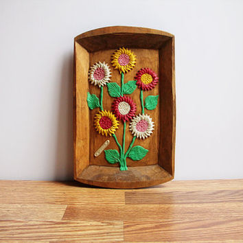 Vintage Handcarved El Salvadorian Wood Tray with Colorful Clay Flowers / Cheerful Rustic Wall Art / Cottage Chic / Perfect for Summer