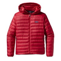 Patagonia Down Sweater Full Zip-Up Hooded Mens Jacket in Red Delicious (84700-RDS)