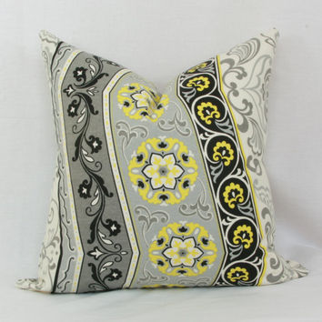 "Yellow, gray & black decorative throw pillow cover. 18"" x 18"" pillow cover. Waverly Picturesque pillow cover."