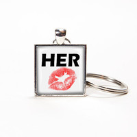 Key chain for her of square glass tile. Rusteam