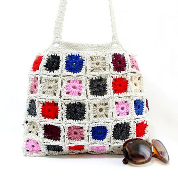 ON SALE, Crochet bag, Handmade, Crochet granny square bag, Gift ideas for her, Gypsy style, Multicolor tote, Square pattern, Gypsy bag