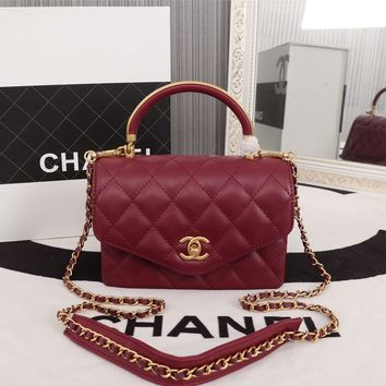 HCXX 19June 758 Three interlayer Fashion organ bag Chain Leather Hangbag 19-16-13 wine red