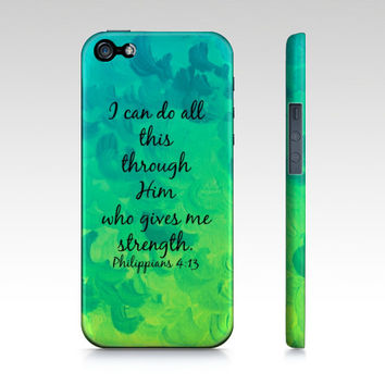 I Can Do All This Through Him, Christian iPhone 4 4S 5 5S 5C 6 Case Samsung Galaxy Blue Green Cloud Bible Verse Philippians Bible Scripture