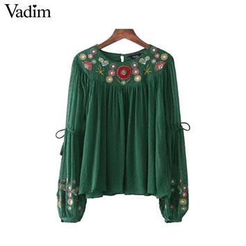 women floral embroidery chiffon shirts bow tie sleeve O neck  pleated blouse ladies casual tops