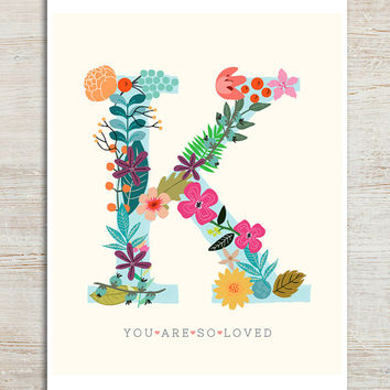 Lovely Letter K - 8x10 inch print on A4 - featuring initial K, pretty flowers, soft cream background and love quote