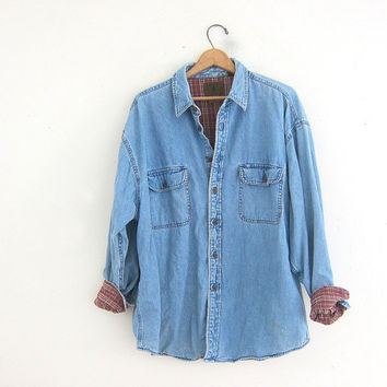 Vintage oversized flannel lined denim from dirty birdies for How to wash flannel shirts