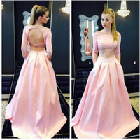 2016 Myriam Fares Two Pieces Prom Dresses With Long Sleeves Vintage Pink Scoop Neck Arabic Evening Gowns Muslim E5087