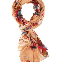 Floral Print Wrap Scarf by Charlotte Russe - Beige