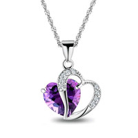 Top Fashion Class Women Girls Lady Heart Crystal Amethyst Maxi Statement Pendant Necklace Jewelry for Lover Gift 6 Colors