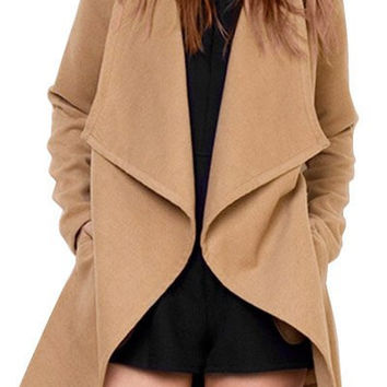 Coffee Colored Turn-Down Collar Long Sleeve Coat