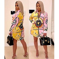 VERSACE Summer Hot Sale Women Print Long Sleeve Lapel Shirt Dress