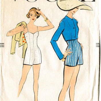 1950s vintage sewing pattern beach swim bathing suit one piece bust 34 b34 waist 26 w26 vogue 9184