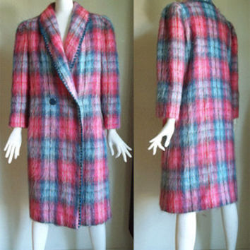 Vintage 80s GENTILLESSE Paintbox BLANKET Plaid Shawl Collar Midi Mohair Wool Coat M
